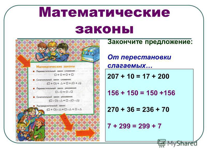 Математические законы Закончите предложение: От перестановки слагаемых… 207 + 10 = 17 + 200 156 + 150 = 150 +156 270 + 36 = 236 + 70 7 + 299 = 299 + 7 207 + 10 = 17 + 200 156 + 150 = 150 +156 270 + 36 = 236 + 70 7 + 299 = 299 + 7