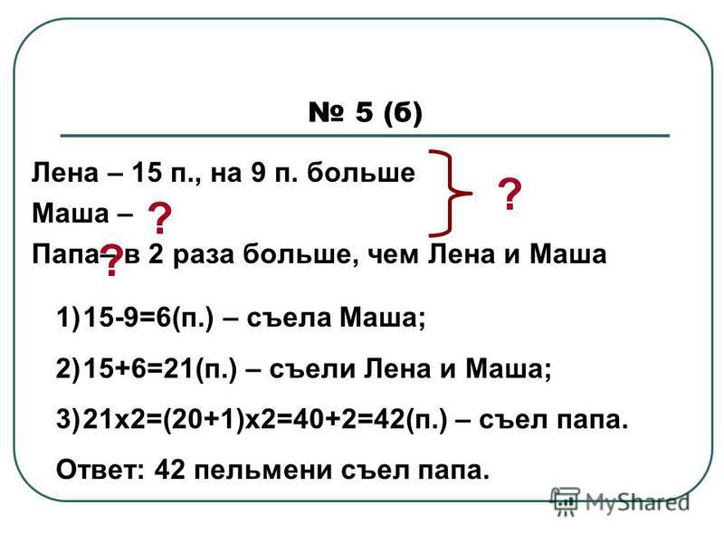 5 (б) Лена – 15 п., на 9 п. больше Маша – Папа– в 2 раза больше, чем Лена и Маша ? ? 1)15-9=6(п.) – съела Маша; 2)15+6=21(п.) – съели Лена и Маша; 3)21 х 2=(20+1)х 2=40+2=42(п.) – съел папа. Ответ: 42 пельмени съел папа. ?
