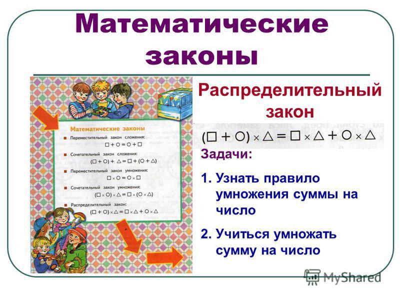 Математические законы Распределительный закон Задачи: 1. Узнать правило умножения суммы на число 2. Учиться умножать сумму на число