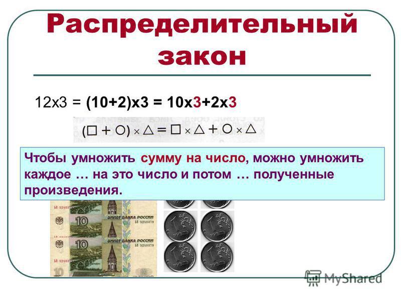 Распределительный закон 12 х 3 = (10+2)х 3 = 10 х 3+2 х 3 Чтобы умножить сумму на число, можно умножить каждое … на это число и потом … полученные произведения.