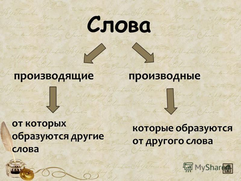 Слова производящие производные от которых образуются другие слова которые образуются от другого слова