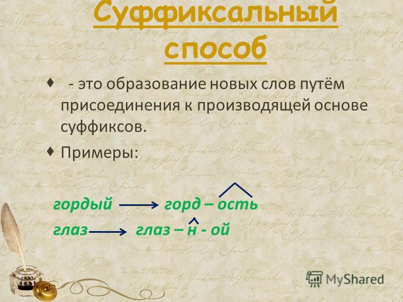 Суффиксальный способ - это образование новых слов путём присоединения к производящей основе суффиксов. Примеры: гордый горд – ость глаз глаз – н - ой