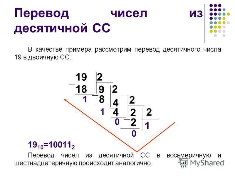 Перевод чисел из десятичной СС В качестве примера рассмотрим перевод десятичного числа 19 в двоичную СС: 19 10 =10011 2 Перевод чисел из десятичной СС в восьмеричную и шестнадцатеричную происходит аналогично. 0 2 4 2 2 2 1 192 18 9 2 8 4 0 1 1