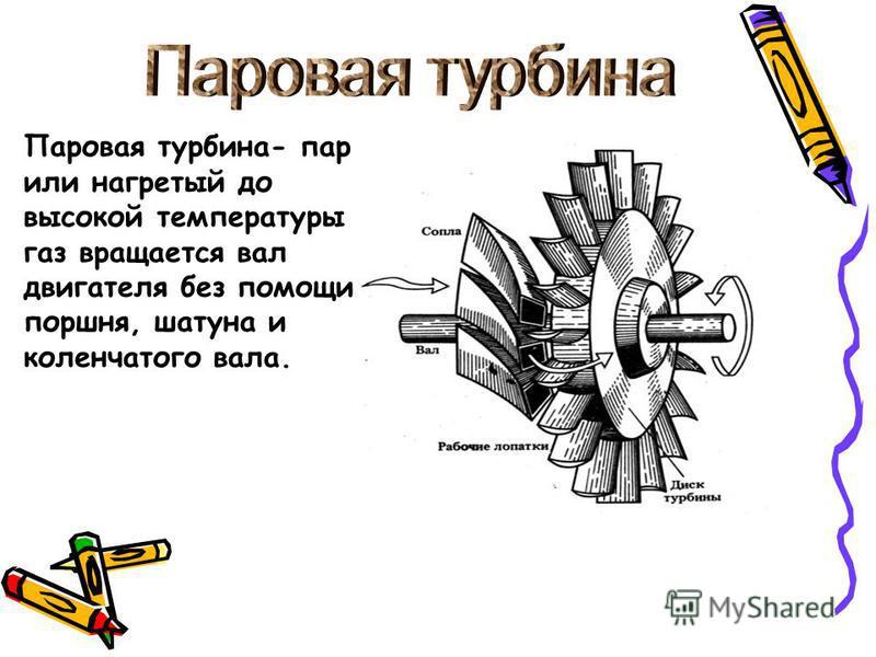 Паровая турбина- пар или нагретый до высокой температуры газ вращается вал двигателя без помощи поршня, шатуна и коленчатого вала.