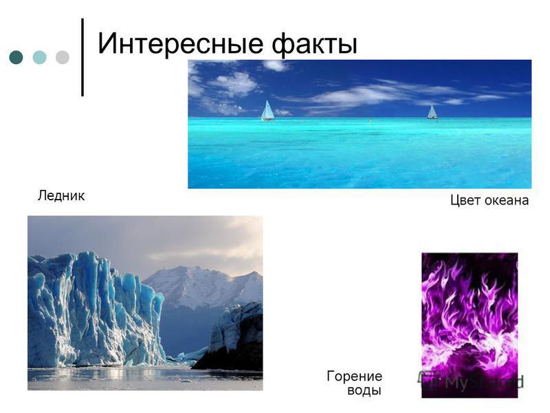 Интересные факты Горение воды Цвет океана Ледник