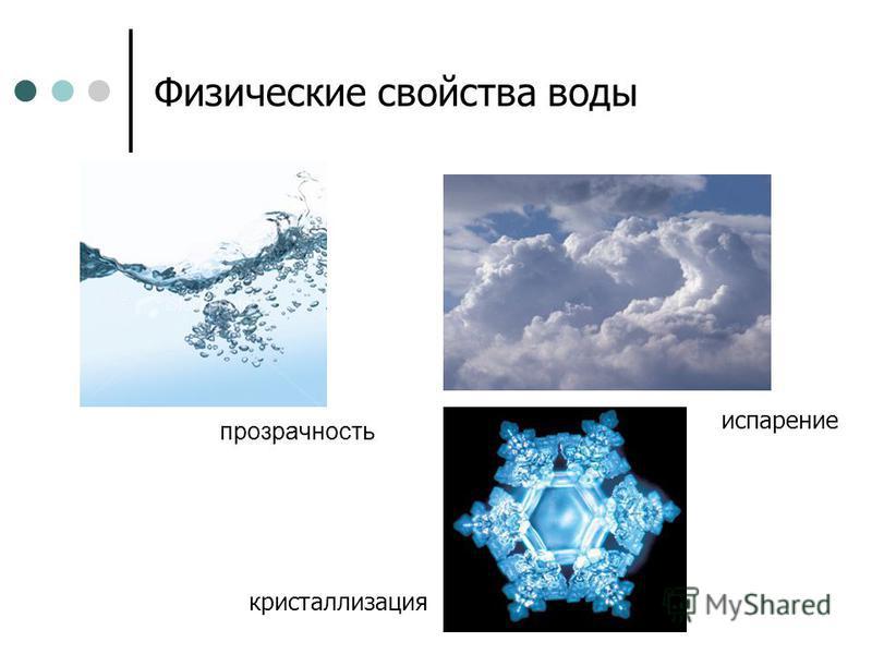 Физические свойства воды прозрачность испарение кристаллизация