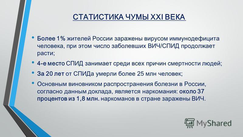 СТАТИСТИКА ЧУМЫ ХХІ ВЕКА Более 1% жителей России заражены вирусом иммунодефицита человека, при этом число заболевших ВИЧ/СПИД продолжает расти; 4-е место СПИД занимает среди всех причин смертности людей; За 20 лет от СПИДа умерли более 25 млн человек