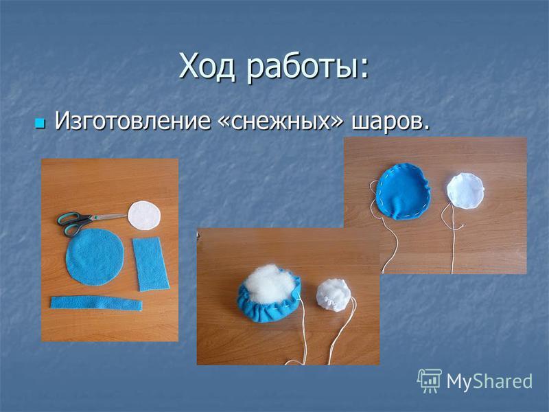 Ход работы: Изготовление «снежных» шаров. Изготовление «снежных» шаров.