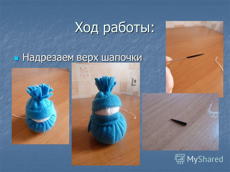 Ход работы: Надрезаем верх шапочки Надрезаем верх шапочки