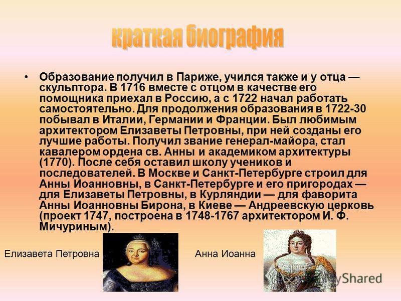 Образование получил в Париже, учился также и у отца скульптора. В 1716 вместе с отцом в качестве его помощника приехал в Россию, а с 1722 начал работать самостоятельно. Для продолжения образования в 1722-30 побывал в Италии, Германии и Франции. Был л