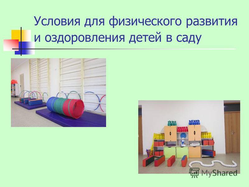 Условия для физического развития и оздоровления детей в саду