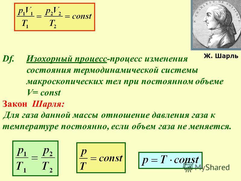 Df. Изохорный процесс-процесс изменения состояния термодинамической системы макроскопических тел при постоянном объеме V= const Закон Шарля: Для газа данной массы отношение давления газа к температуре постоянно, если объем газа не меняется. Ж. Шарль