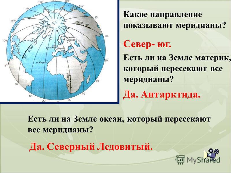 Какое направление показывают меридианы? Север- юг. Есть ли на Земле материк, который пересекают все меридианы? Да. Антарктида. Есть ли на Земле океан, который пересекают все меридианы? Да. Северный Ледовитый.