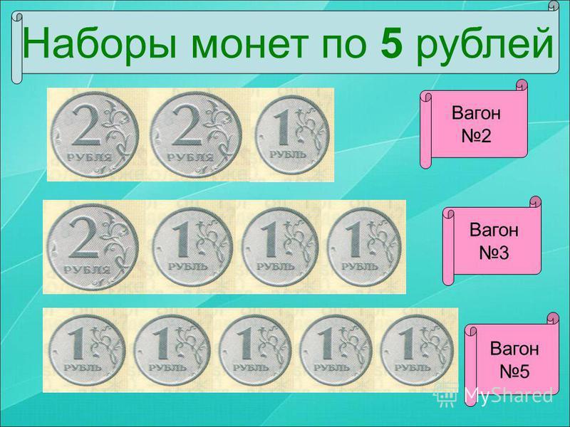 Наборы монет по 5 рублей Вагон 2 Вагон 5 Вагон 3