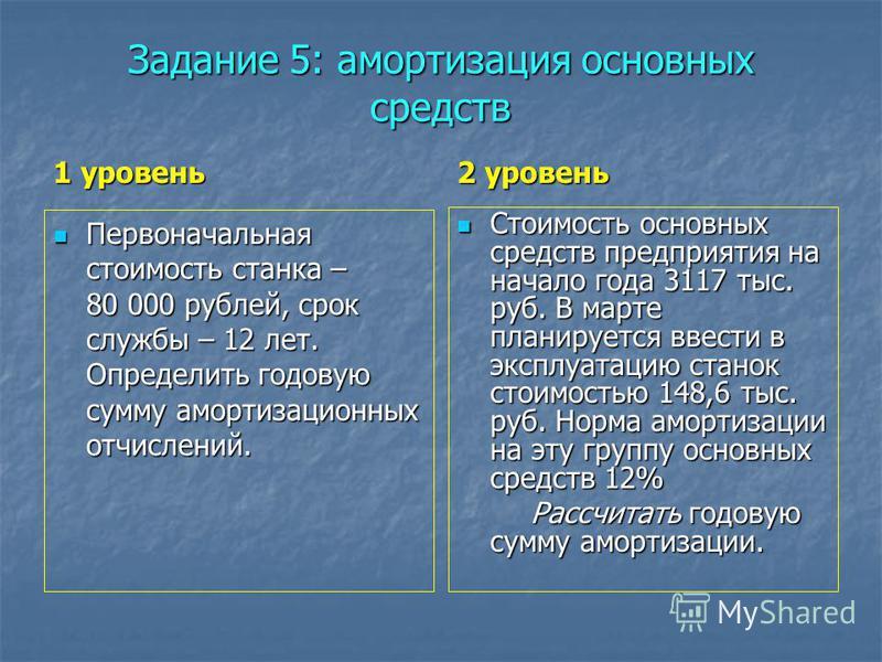 Задание 5: амортизация основных средств 1 уровень Первоначальная стоимость станка – 80 000 рублей, срок службы – 12 лет. Определить годовую сумму амортизационных отчислений. Первоначальная стоимость станка – 80 000 рублей, срок службы – 12 лет. Опред