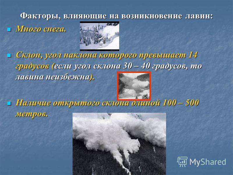 Факторы, влияющие на возникновение лавин: Много снега. Много снега. Склон, угол наклона которого превышает 14 градусов (если угол склона 30 – 40 градусов, то лавина неизбежна). Склон, угол наклона которого превышает 14 градусов (если угол склона 30 –