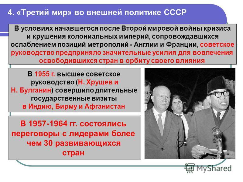 4. «Третий мир» во внешней политике СССР В условиях начавшегося после Второй мировой войны кризиса и крушения колониальных империй, сопровождавшихся ослаблением позиций метрополий - Англии и Франции, советское руководство предприняло значительные уси