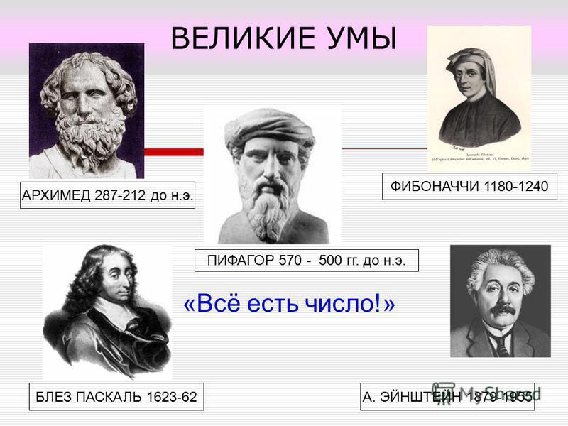 ВЕЛИКИЕ УМЫ А. ЭЙНШТЕЙН 1879-1955БЛЕЗ ПАСКАЛЬ 1623-62 АРХИМЕД 287-212 до н.э. ФИБОНАЧЧИ 1180-1240 ПИФАГОР 570 - 500 гг. до н.э. «Всё есть число!»