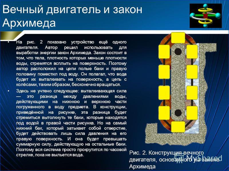 Вечный двигатель и закон Архимеда На рис. 2 показано устройство ещё одного двигателя. Автор решил использовать для выработки энергии закон Архимеда. Закон состоит в том, что тела, плотность которых меньше плотности воды, стремятся всплыть на поверхно
