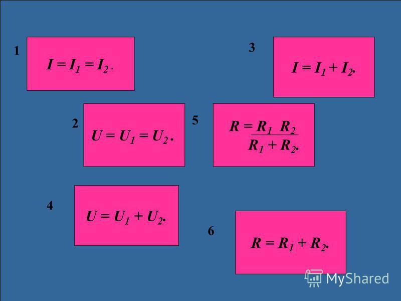 1 2 3 4 5 6 I = I 1 = I 2. U = U 1 = U 2. U = U 1 + U 2. R = R 1 + R 2. I = I 1 + I 2. R = R 1 R 2 R 1 + R 2.