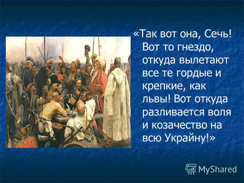 «Так вот она, Сечь! Вот то гнездо, откуда вылетают все те гордые и крепкие, как львы! Вот откуда разливается воля и казачество на всю Украйну!»
