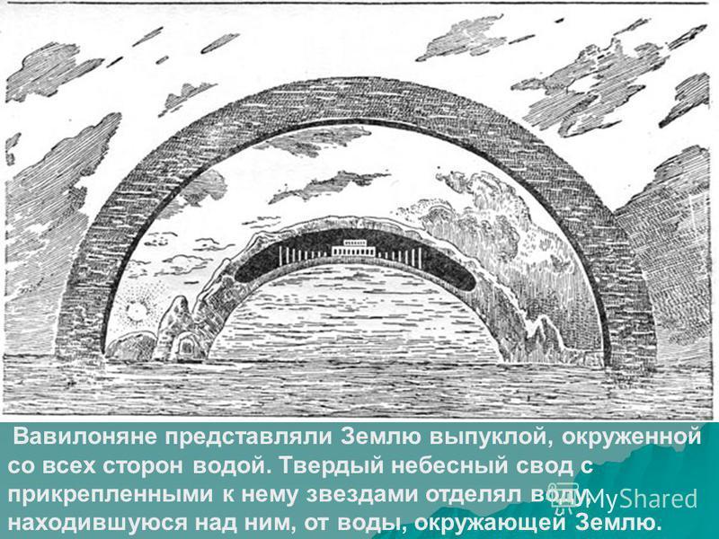 Вавилоняне представляли Землю выпуклой, окруженной со всех сторон водой. Твердый небесный свод с прикрепленными к нему звездами отделял воду, находившуюся над ним, от воды, окружающей Землю.
