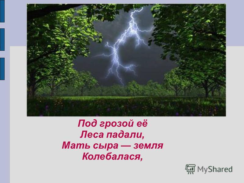 Под грозой её Леса падали, Мать сыра земля Колебалася,