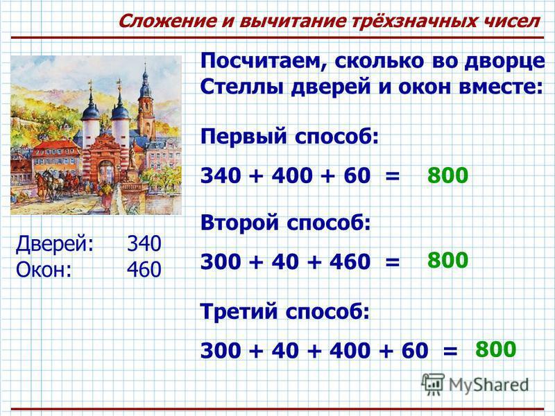 Сложение и вычитание трёхзначных чисел Посчитаем, сколько во дворце Стеллы дверей и окон вместе: Первый способ: 340 + 400 + 60 = Второй способ: 300 + 40 + 460 = Третий способ: 300 + 40 + 400 + 60 = 800 Дверей: 340 Окон:460