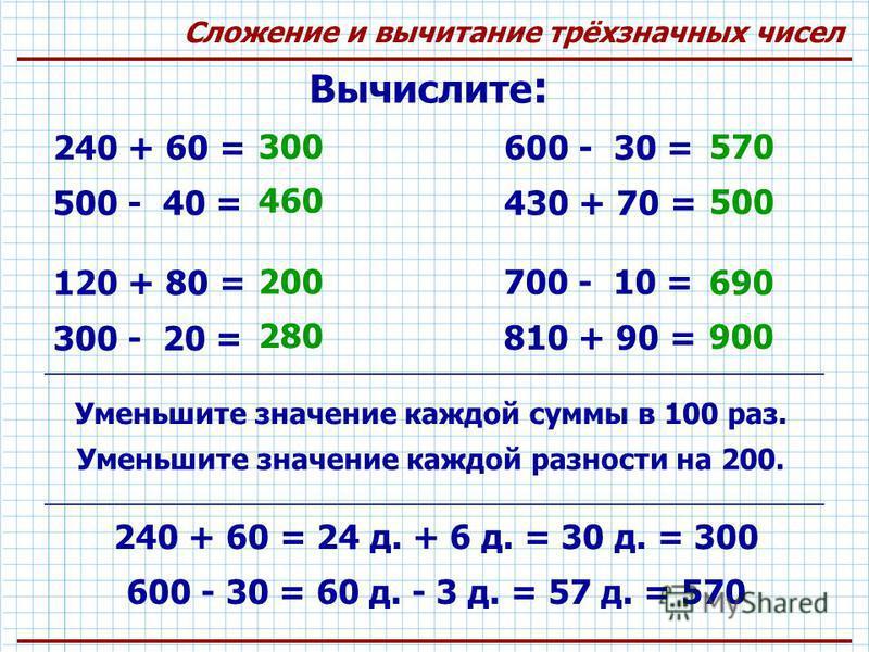 Сложение и вычитание трёхзначных чисел Вычислите : 240 + 60 = 300 500 - 40 = 460 600 - 30 = 570 430 + 70 = 500 120 + 80 = 200 300 - 20 = 280 700 - 10 = 690 810 + 90 = 900 Уменьшите значение каждой суммы в 100 раз. Уменьшите значение каждой разности н