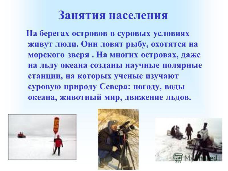Занятия населения На берегах островов в суровых условиях живут люди. Они ловят рыбу, охотятся на морского зверя. На многих островах, даже на льду океана созданы научные полярные станции, на которых ученые изучают суровую природу Севера: погоду, воды