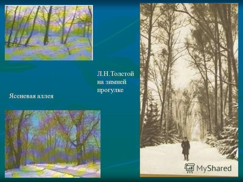 Л.Н.Толстой на зимней прогулке Ясеневая аллея