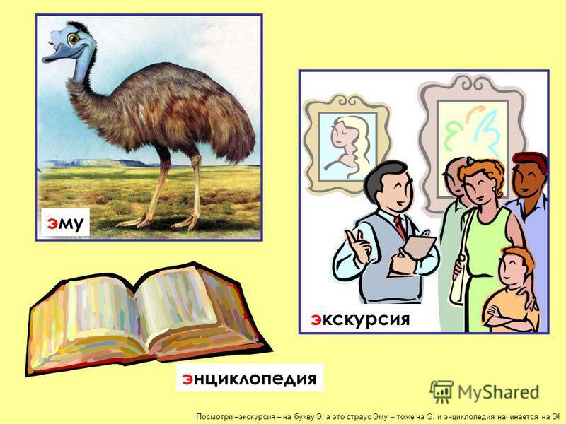 Посмотри –экскурсия – на букву Э, а это страус Эму – тоже на Э, и энциклопедия начинается на Э! экскурсия эму энциклопедия