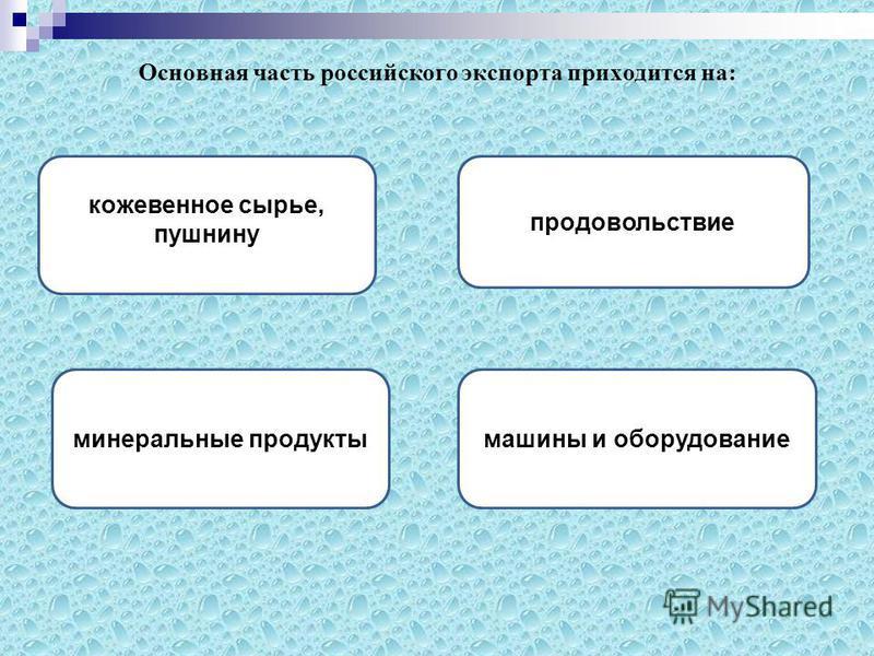 Основная часть российского экспорта приходится на: минеральные продукты продовольствие машины и оборудование кожевенное сырье, пушнину