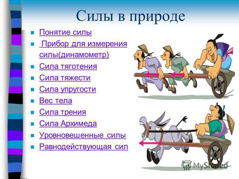 Силы в природе n Понятие силы Понятие силы n Прибор для измерения силы(динамометр) Прибор для измерения силы(динамометр) n Сила тяготения Сила тяготения n Сила тяжести Сила тяжести n Сила упругости Сила упругости n Вес тела Вес тела n Сила трения Сил