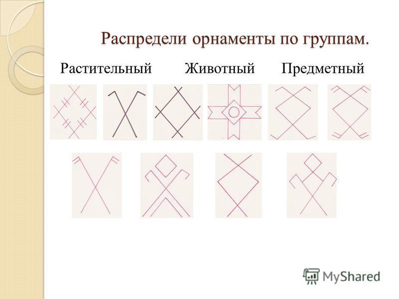 Распредели орнаменты по группам. Растительный ЖивотныйПредметный