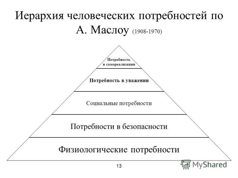 13 Иерархия человеческих потребностей по А. Маслоу (1908-1970) Потребность в самореализации Потребность в уважении Социальные потребности Потребности в безопасности Физиологические потребности