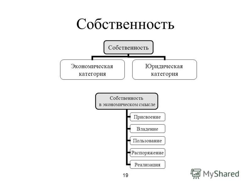 19 Собственность Экономическая категория Юридическая категория Собственность в экономическом смысле Присвоение Владение Пользование Распоряжение Реализация