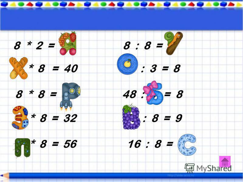 7 х 3 = 21 42 : 7 = 6 5 х 7 = 35 56 : 8 = 7 9 х 7 = 63 49 : 7 = 7 7 х 4 = 28 7 : 1 = 7 2 х 7 = 14 70 : 7 = 10