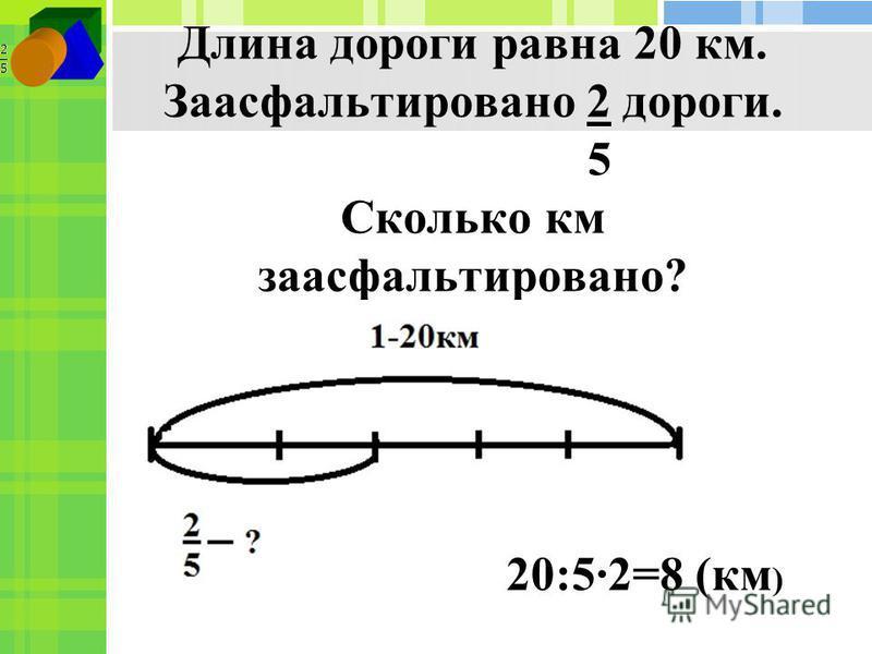 Длина дороги равна 20 км. Заасфальтировано 2 дороги. 5 Сколько км заасфальтировано? 20:52=8 (км )