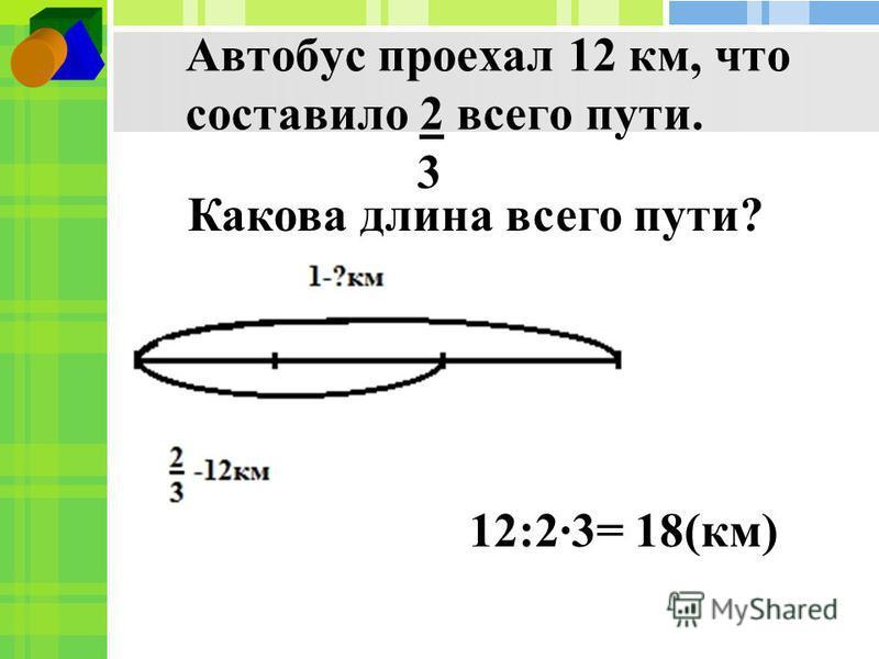 Автобус проехал 12 км, что составило 2 всего пути. 3 Какова длина всего пути? 12:23= 18(км)