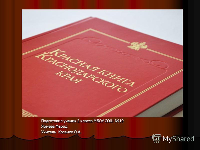 Подготовил ученик 2 класса МБОУ СОШ 19 Ярмеев Фарид Учитель Косенко О.А.