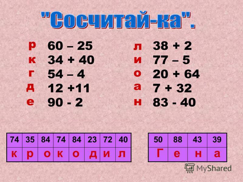 60 – 25 34 + 40 54 – 4 12 +11 90 - 2 38 + 2 77 – 5 20 + 64 7 + 32 83 - 40 р к г д е л и о а н 743584748423724050884339 крокодил Гена