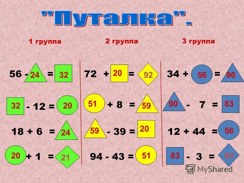 56 - = - 12 = 18 + 6 = + 1 = 1 группа 2 группа 72 + =34 + = + 8 = - 39 = 94 - 43 = - 7 = 12 + 44 = - 3 = 3 группа 24 32 20 21 51 59 20 92 56 90 83 80