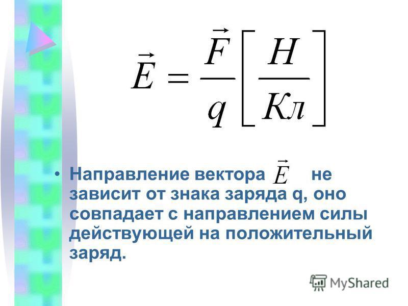 Направление вектора не зависит от знака заряда q, оно совпадает с направлением силы действующей на положительный заряд.