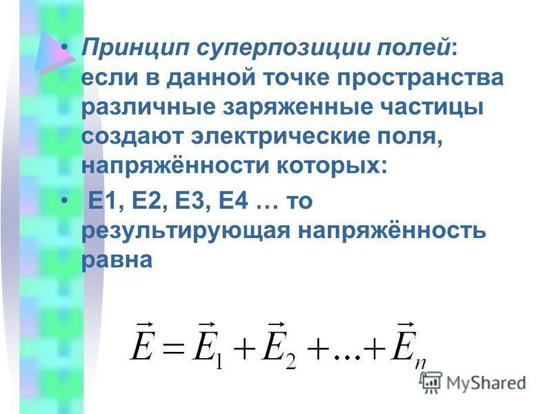 Принцип суперпозиции полей: если в данной точке пространства различные заряженные частицы создают электрические поля, напряжённости которых: Е1, Е2, Е3, Е4 … то результирующая напряжённость равна