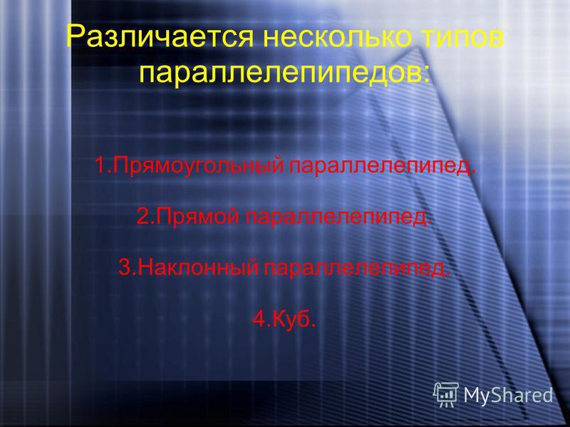 Различается несколько типов параллелепипедов: 1. Прямоугольный параллелепипед. 2. Прямой параллелепипед. 3. Наклонный параллелепипед. 4.Куб.