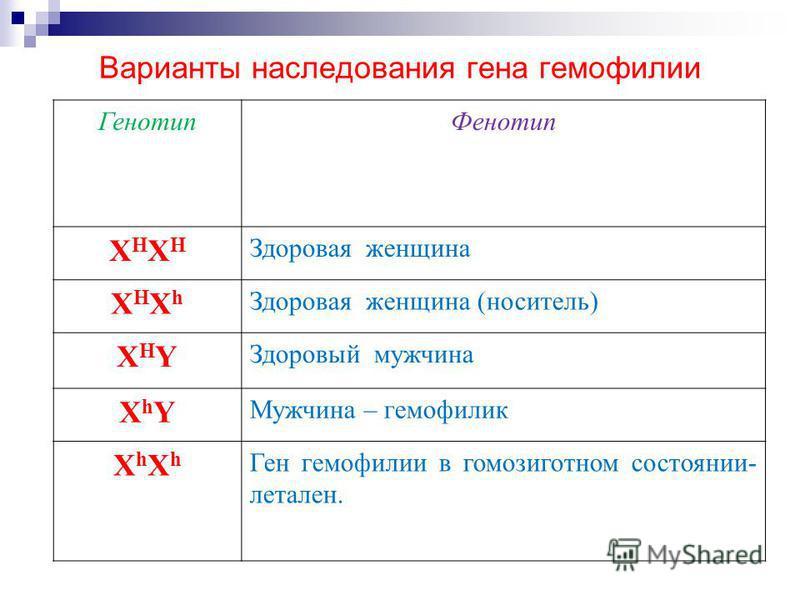 звания гена гемофилии: Генотип Фенотип XHXHXHXH Здоровая женщина XHXhXHXh Здоровая женщина (носитель) XHYXHY Здоровый мужчина XhYXhY Мужчина – гемофилия XhXhXhXh Ген гемофилии в гомозиготном состоянии- летален. Варианты наследзвания гена гемофилии