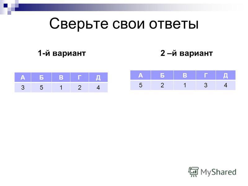 Сверьте свои ответы 1-й вариант АБВГД 35124 2 –й вариант АБВГД 52134