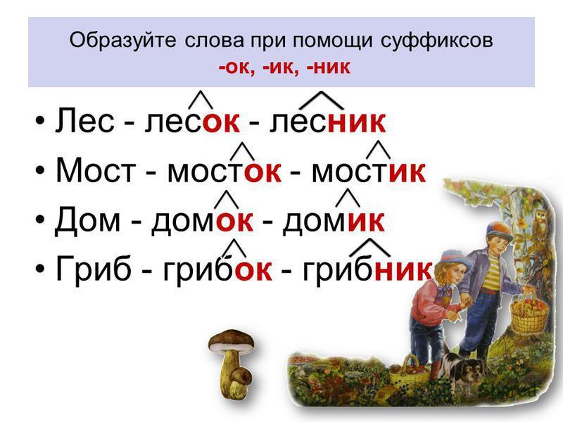 Образуйте слова при помощи суффиксов -ок, -ик, -ник Лес - лесок - лесник Мост - мосток - мостик Дом - домок - домик Гриб - грибок - грибник