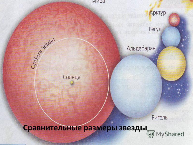 Сравнительные размеры звезд ы